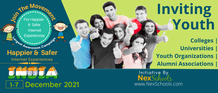 Cyber Safety Awareness Week 2021 for India, Youth For #HSIWeek #HappierSaferInternet Happier And Safer Internet Experiences , Campaign for Online Safety, College Students Get Involved , Youth Particiapte in India's very first Youth Campaign