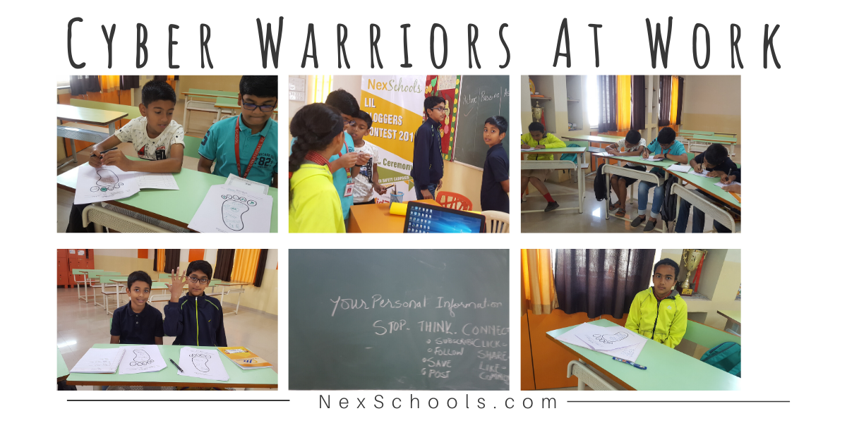 Cyber Warrior children at work, certificate course in classroom for middle school, digital footprint, cyber safety workshop