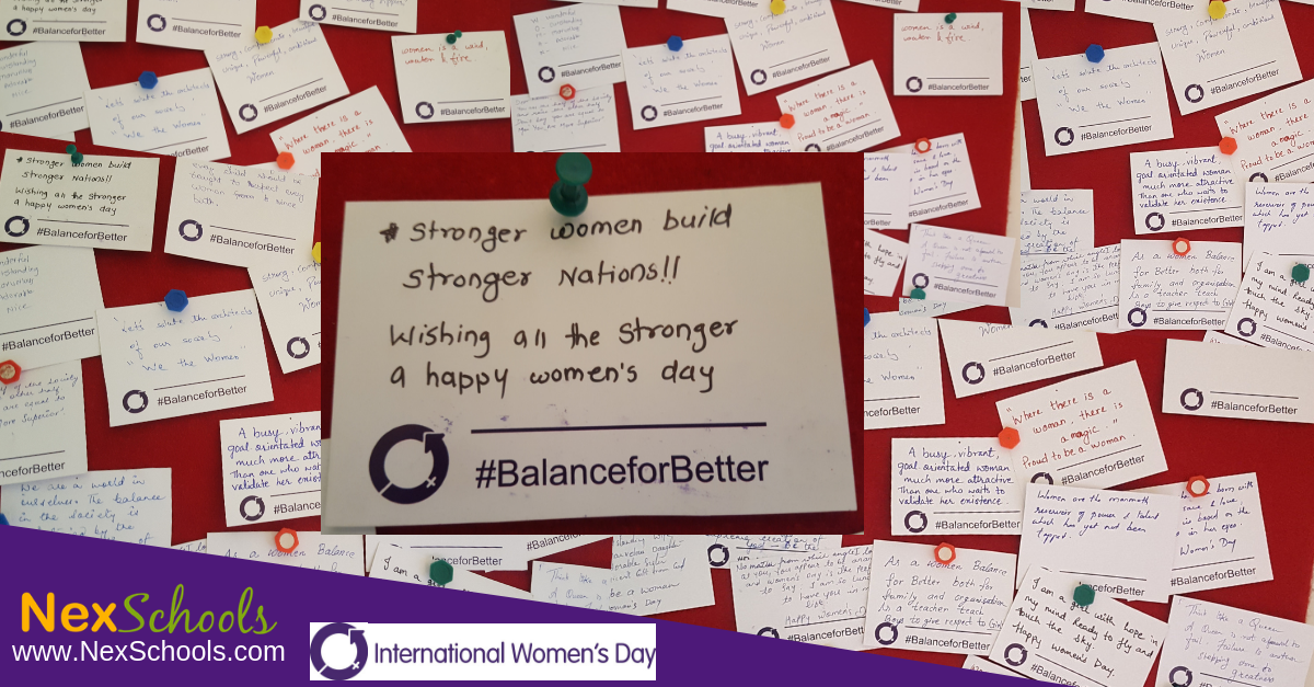 IWD 2019 Message Wall Intenratonal Women's Day at NexSchools NexSchools.com  Digital Inclusion Teachers School Event