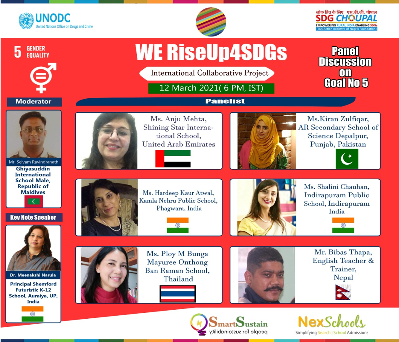 SDG5 Gender Equality, NexSchools is Media Partner for the RiseUp4SDGs, Sustainable Development Goals Panel Discussion Goal 5