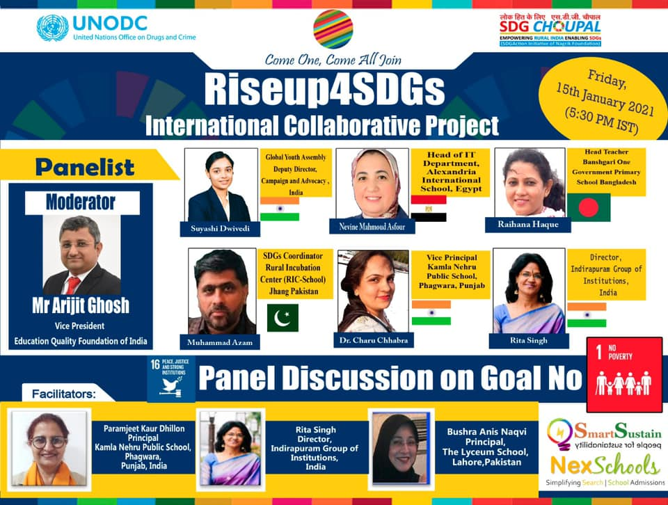 Panel Discussion of RiseUp4SDGs International Project on Sustainable Development Goal Number 1 NO POVERTY Supported by UNODC NexSchools.com