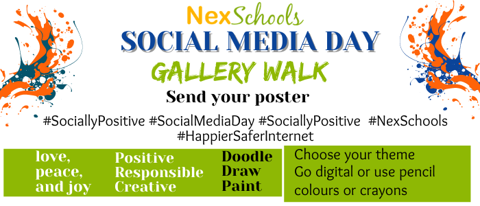 #Socially Responsible Social Media Day Posters Gallery, Social Media Awareness Week, Tips and Ideas for School on Cyber Safety, Social Media Day Posters by schools children students Cyber Warrior  Student Ambassadors, NexSchools.com –largest Cyber Safety campaign among schools children youth