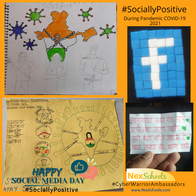 Social Medi Day NexSchools Awareness Day Campaign, COVID -19 #SociallyPositive Posters by student, Primary Middle School children, school ideas for cyber safety