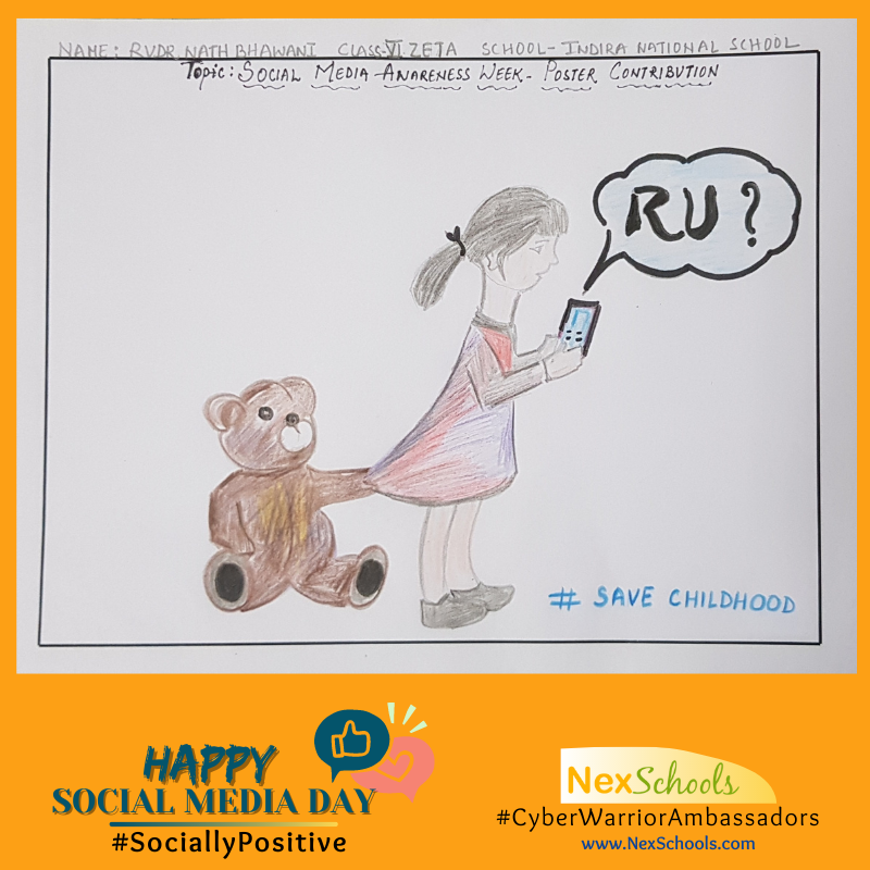 #SociallyPositive, Social Media Awareness Day Campaign by children for students,