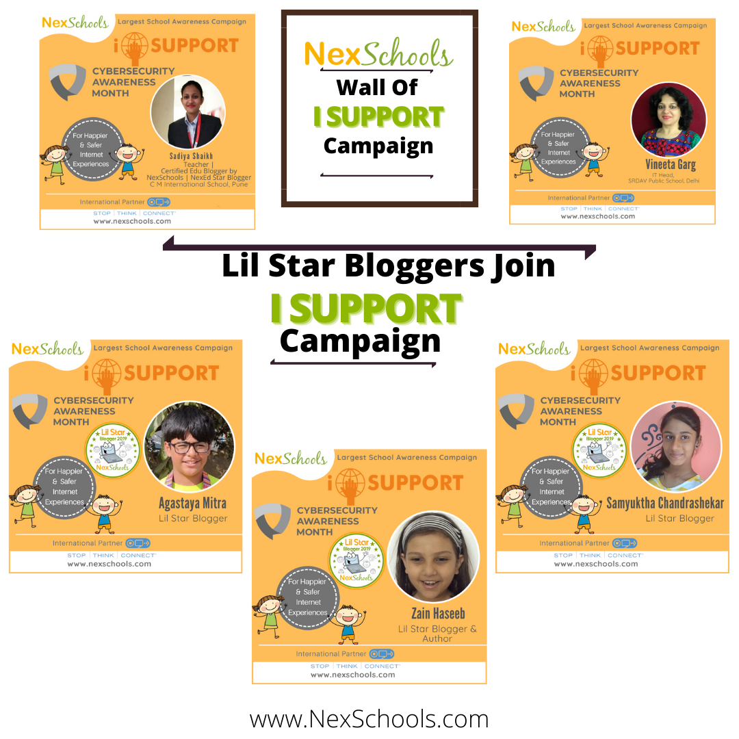 Cyber Safety awarenss Campaign Support page, NexSchools community support for Cybersecurity awareness month, NexEd Teachers, Lil Bloggers Bloggers, Middle School, High Schools