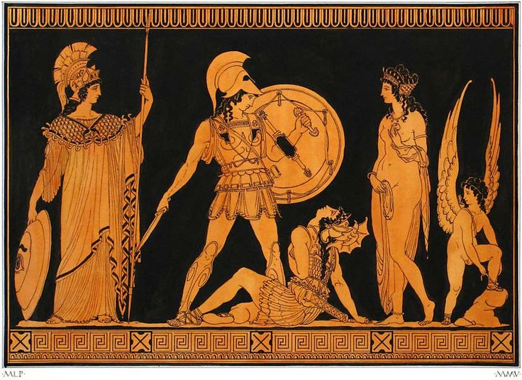 Ancient Greek painting, Achilles and Penthesileia on the Plain of Troy